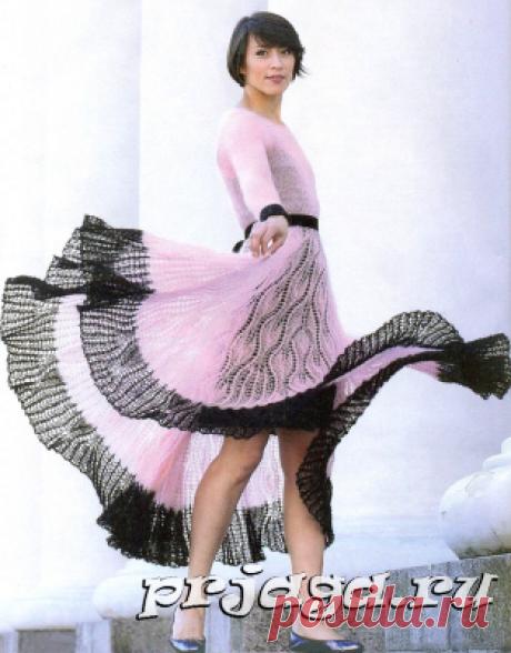 Мохеровое платье спицами