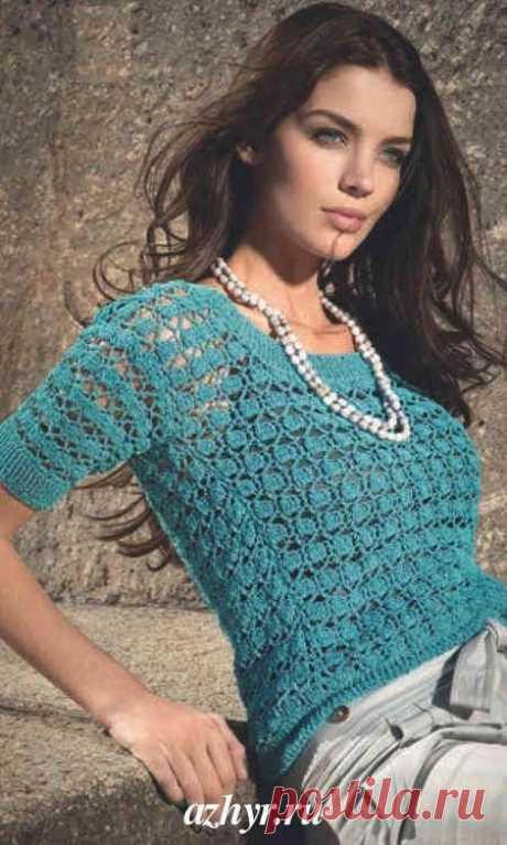 Изумрудный пуловер связанный крючком   АЖУР - схемы узоров