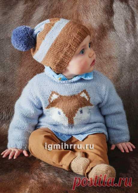 Для малыша в возрасте до 6 месяцев. Кофточка с «лисой», пинетки и шапочка. Вязание спицами для детей
