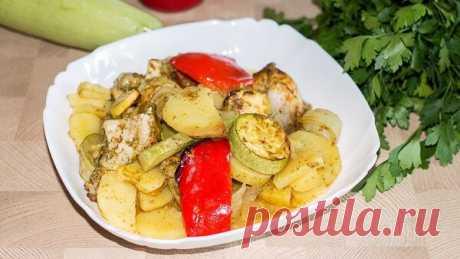 Лентяйка - полезный ужин без хлопот - курица с овощами в рукаве