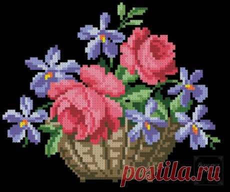(6) Gallery.ru / Фото #1 - Корзинка с розами и фиалками - larisa-bnw
