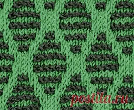 Вытянутые ромбы - схема вязания спицами с описанием на Verena.ru