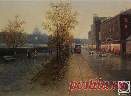 «Мокрый город» картина Репникова Андрея маслом на холсте — купить на ArtNow.ru
