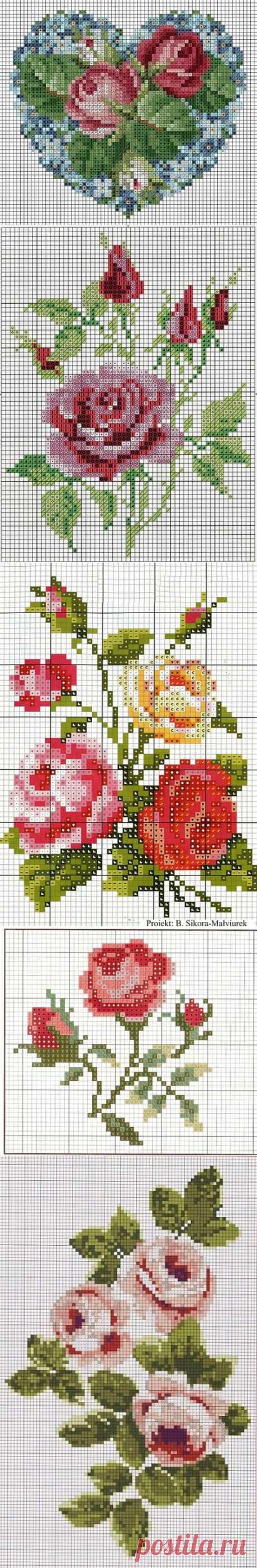 Розы - 12 схем для вышивания крестом.