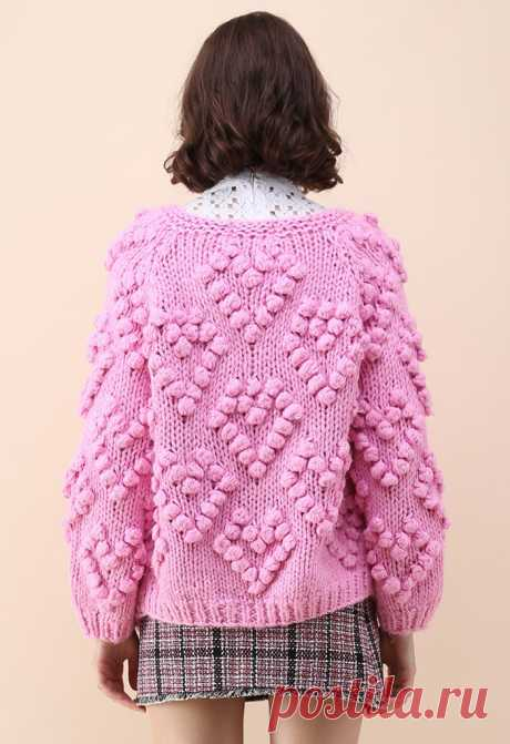 Knit Your Love Cardigan in Hot Pink - Retro, Indie and Unique Fashion