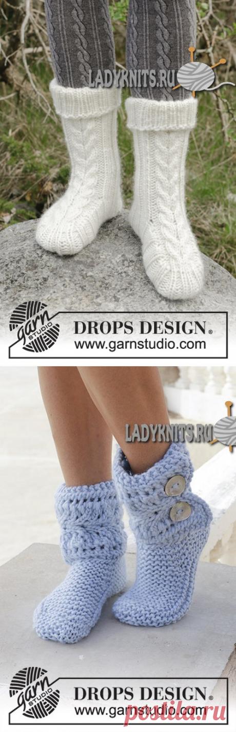 Вязаные спицами красивые носки с косами. Описание для всех женских размеров