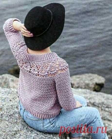 Пуловер с ажурной кокеткой | Вяжем крючком!!! и не только... | Яндекс Дзен