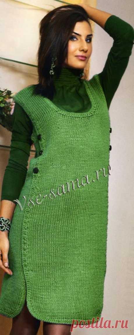 Сарафан модного зелёного цвета - Платья, юбки, сарафаны спицами