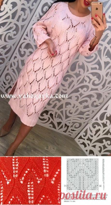 Узор для платья спицами. Нежный узор спицами для вязания женского платья | Я Хозяйка