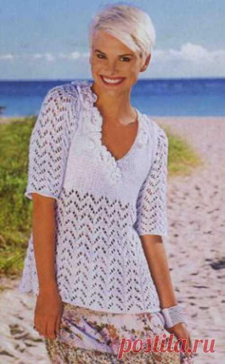 Белый пуловер. Вязание спицами для женщин. Узелок.ру