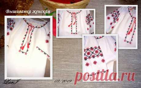 Льняная женская вышиванка( рукав----3/4).Ручная вышивка.Белорусский лён.