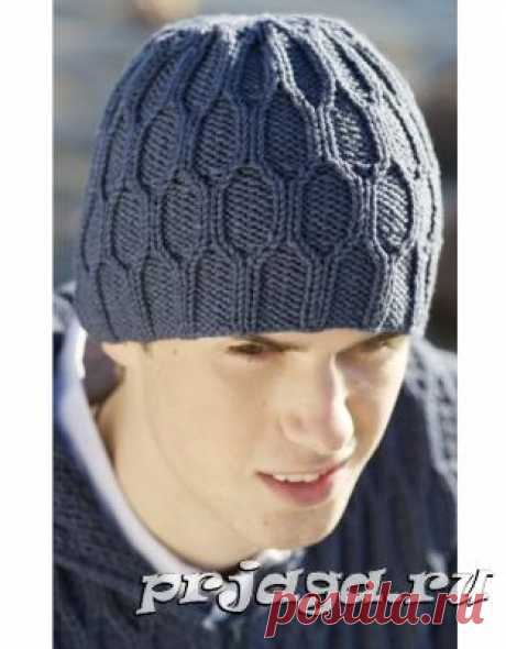 Красивая мужская шапка спицами