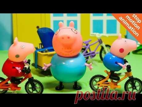 СВИНКА ПЕППА катается на велосипеде. Мультфильм из игрушек Peppa Pig на русском. Веселые карусели