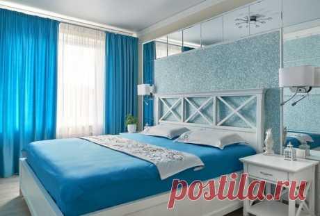 Лазурный цвет в интерьере спальни: с чем лучше сочетать — разберем на примерах