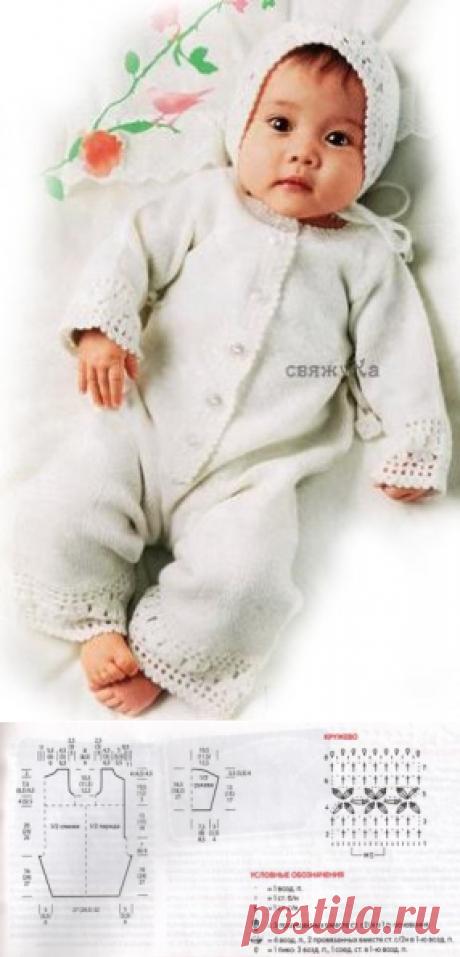 Комбинезон для новорожденной девочки вязаный спицами