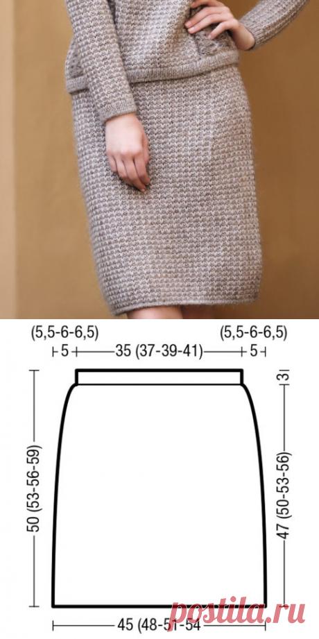 Юбка с узором из вытянутых петель (Вязание спицами) – Журнал Вдохновение Рукодельницы