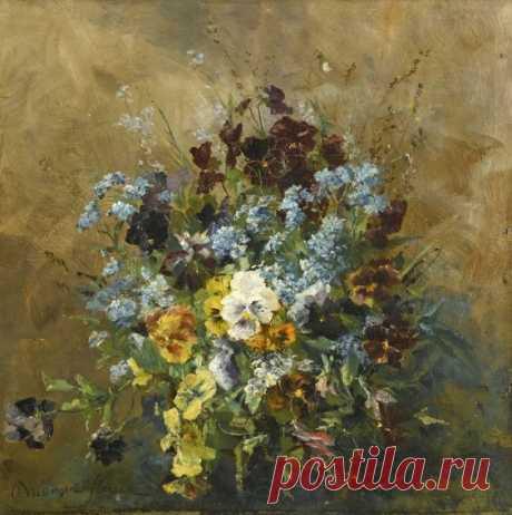 Olga Wisinger-Florian (Austrian, 1844 – 1926): Still life with pansies