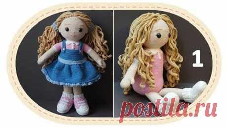 Вязаная кукла крючком Розали, часть 3 (Тело, ч1). Crochet doll Rosalie, part 3 (body, p1).