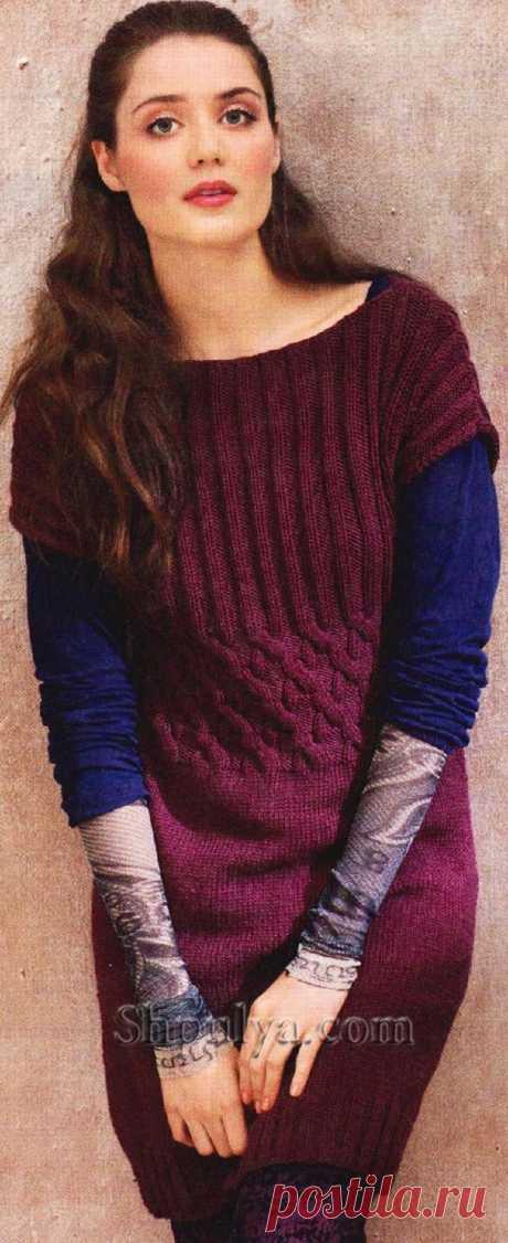 Сиреневая туника с косами на талии, вязаная спицами - SHPULYA.com
