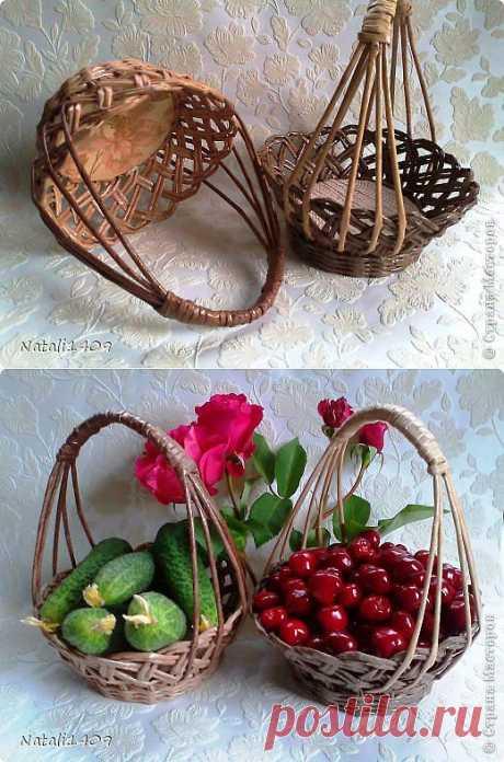 Плетеные вазочки-конфетницы.
