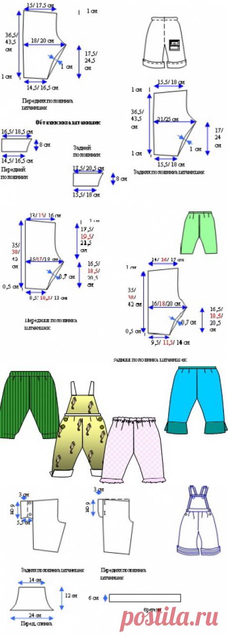 Выкройка ползунков и штанишек