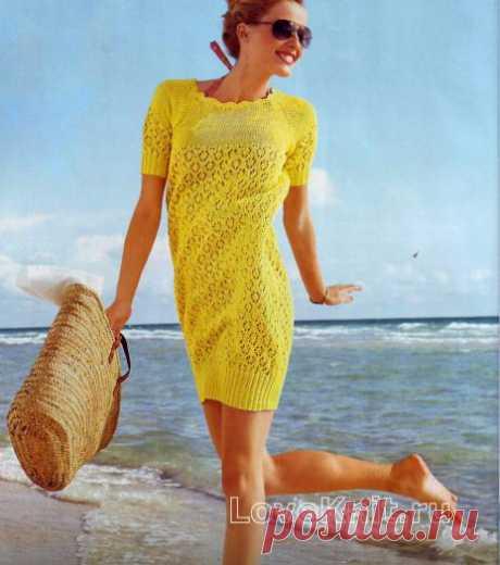 Желтое платье-баллон схема спицами