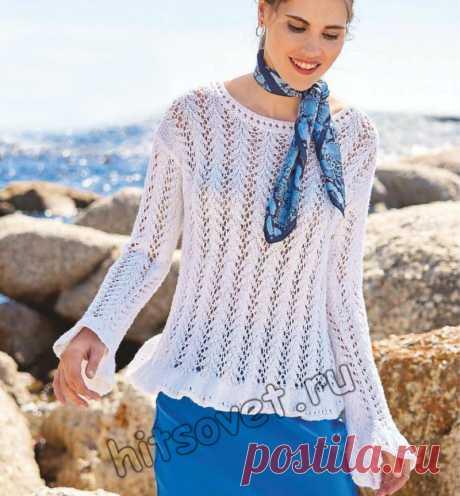 Белая ажурная кофточка - Хитсовет Белая вязаная кофточка с ажурными полосами со схемой и пошаговым бесплатным описанием вязания.