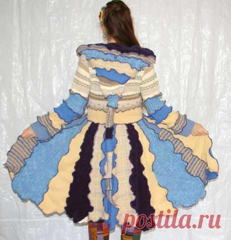 Blue Heron Upcycled Sweater Coat Katwise Inspired от rosecanino