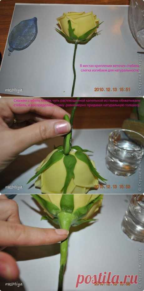 МК по лепке розы.Часть4-оформление стебля.