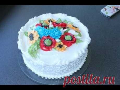украшения торта цветами/маки из крема/подсолнухи и роспись Корнели