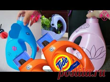 Do not discard the used laundry bottles to create beautiful Crafts