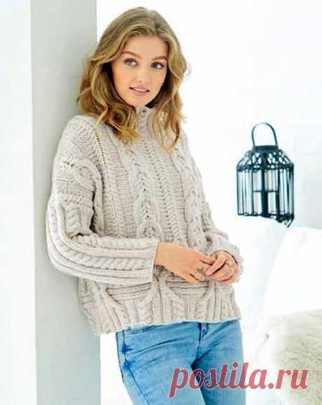 Пуловер оверсайз с узором из «кос»
