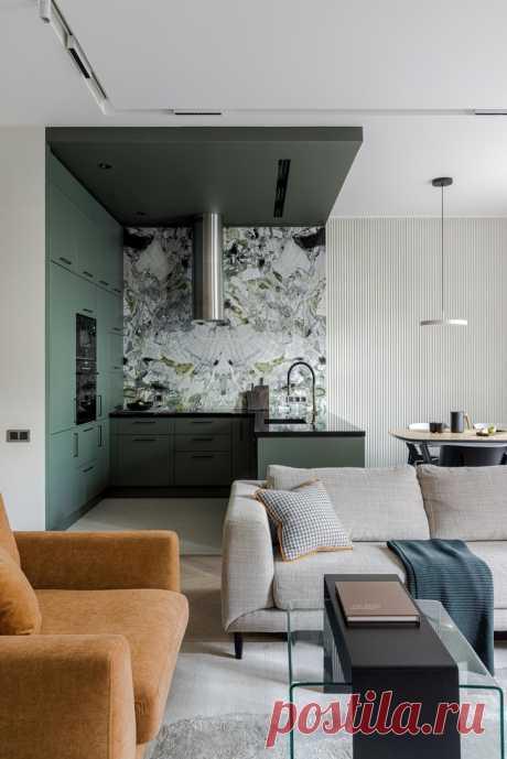 Московская квартира 130 м² в оливково-кофейной цветовой гамме | ELLEDECORATION