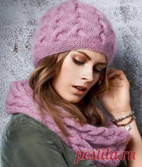 Вязаный комплект: Шапка и снуд спицами с плетеным узором | Моё хобби.Вязание для женщин. | Яндекс Дзен