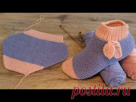 Легкие следки спицами с листиками🍂 Easy Slippers with leaves knitting patter