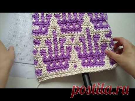 "Crown knitting pattern Узор ""Корона"" Mosaic crochet Мозаичное вязание Евгения Крочет"