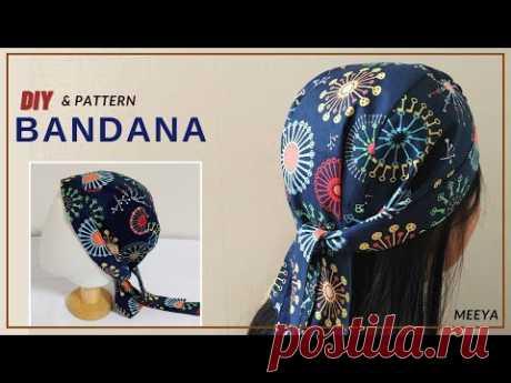 DIY Unisex Bandana|남여노소 두건 쉽게만들기|Pattern included |반다나|헤어스카프|머리수건|head band| hair scarf|도안|패턴포함|バンダナ - YouTube