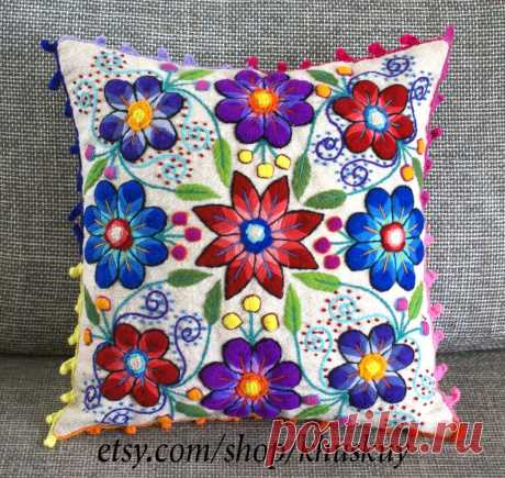 Almohada decorativa almohada peruana cubre flores bordadas a | Etsy