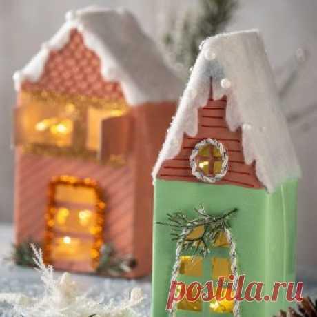 Рождественский домик из картонной коробки