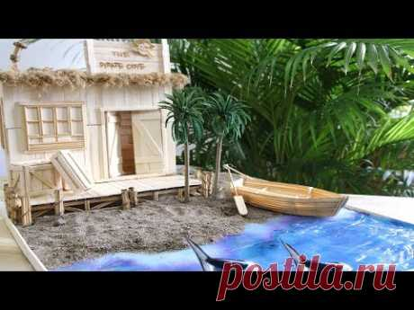 Building a Popsicle stick Pirate's House with beach and boat