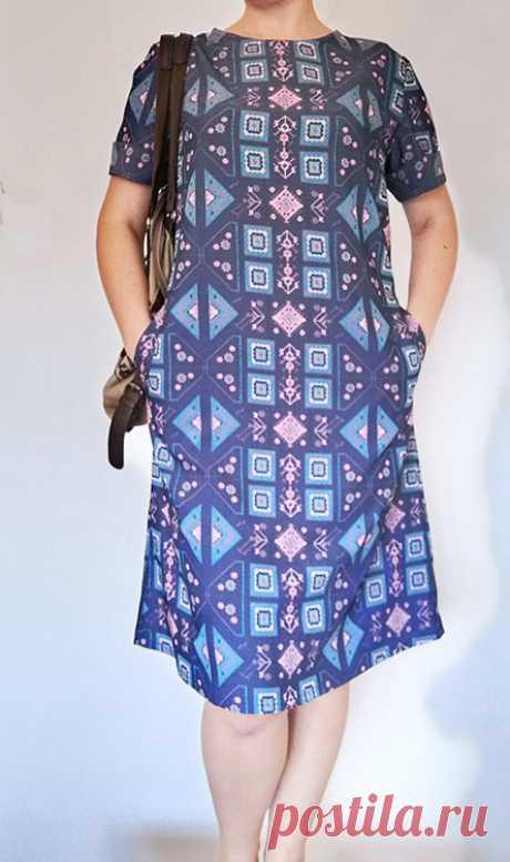 Как сшить повседневное простое платье с коротким рукавом и карманами