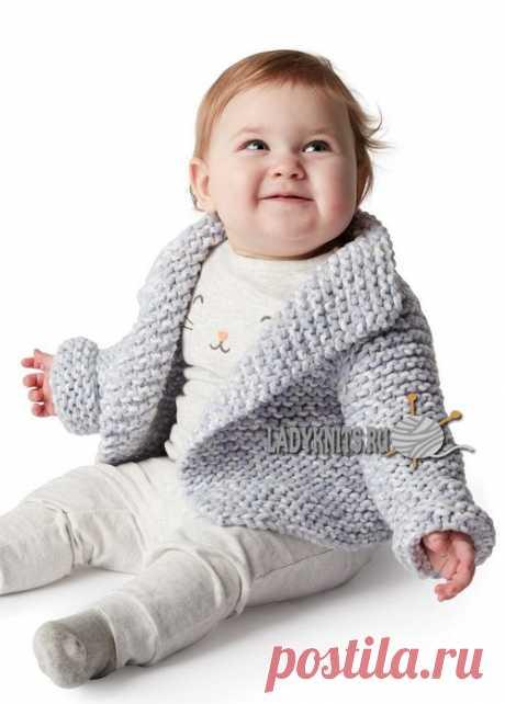 Кардиган для ребенка вязанный спицами из толстой пряжи