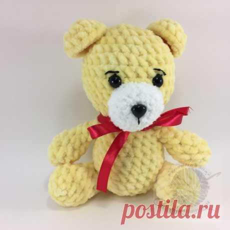 Желтый вязаный мишка, плюшевый, 15 см Купить недорого!Плюшевый мир Мастерская игрушек Анны Ганоцкой