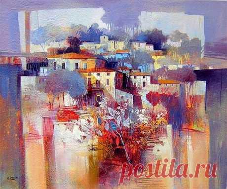 Итальянский художник Claudio Perina.Яркие и сочные цвета, , живописно .