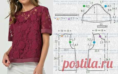 Ажурная блузка, выкройка на размер 42/44 (рос.). #простыевыкройки #простыевещи #шитье #блузка #выкройка