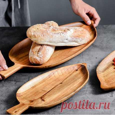 Деревянная тарелка в форме листа, фруктовое блюдо, тарелка, чайный поднос, десертный ужин, хлеб, деревянная тарелка, поднос для хранения Блюдца и тарелки    АлиЭкспресс