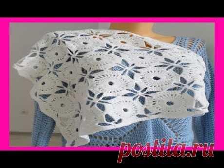 Бактус, мини - шаль безотрывными мотивами ,вязание крючком,crochet shawl(шаль № 105)