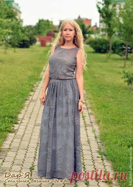 """Каменная Роза""""элегантное вязаное крючком кружевное летнее платье в пол – купить в интернет-магазине на Ярмарке Мастеров с доставкой - 3UW9XRU   Зеленоград"""