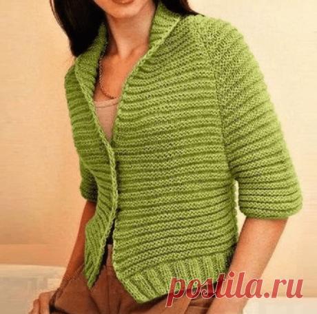 Простой жакет с рукавами реглан (Вязание спицами) – Журнал Вдохновение Рукодельницы