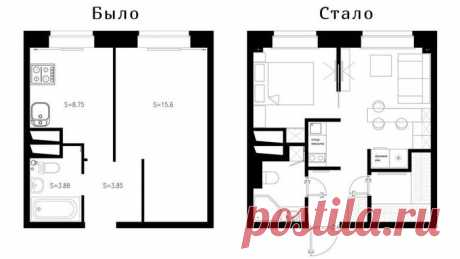 32 кв. м: красивая перепланировка «однушки» в «двушку» — Мой дом